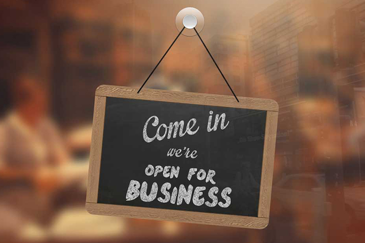 Open for business sign entrepreneurship small business