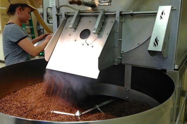 Woman operating coffee bean roasting machine